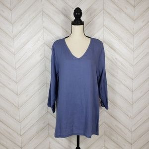 FLAX Blue 100% Linen Long Sleeve V Neck Tunic Top